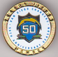 San Diego Chargers Season Ticket Holder 50th anniversary pin